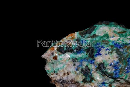 mineralien azurit malachit und pyrit
