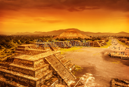 pyramids of mexico over sunset