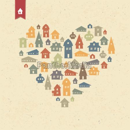 heart shaped many houses icons realty