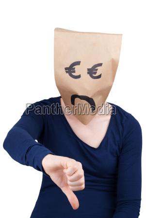 traurig euro papiertuete mit den daumen