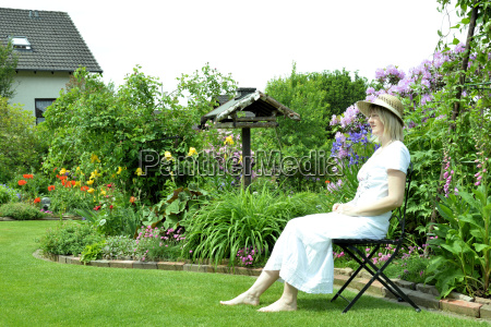 woman is recovering in the garden