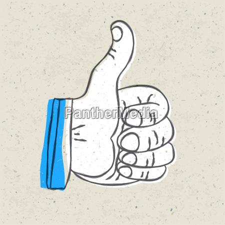 retro styled thumb up symbol vector