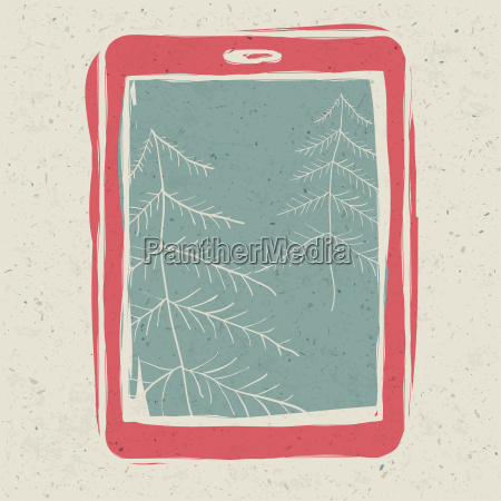 christmas trees on tablet device screen