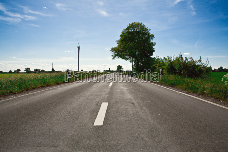 empty road with blue sky and