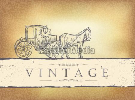 golden vintage wedding invitation vector illustration