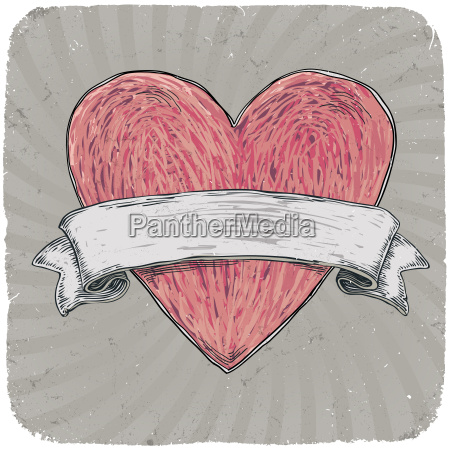 retro styled tattoo heart with ribbon