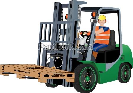 gruener gabelstapler truck