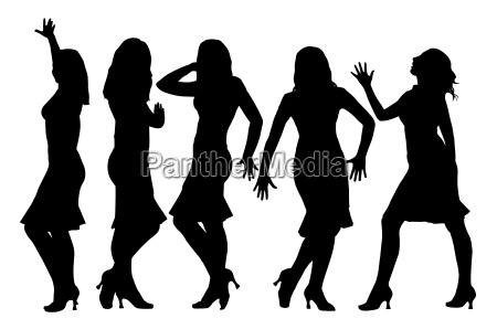 beautiful girls posing vector eps
