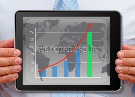 businessman with chart on tablet pc