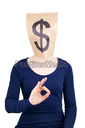 papiertuete kopf mit dollar zeichen