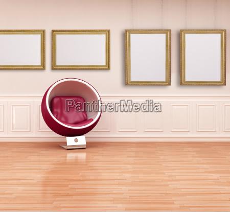 ball chair in einem klassischen interieur