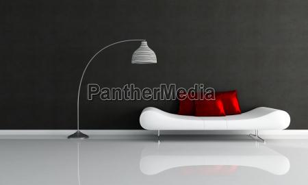 schwarz weiss minimalistischen lounge