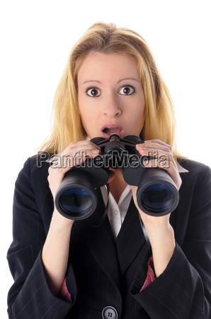 business girl with binoculars