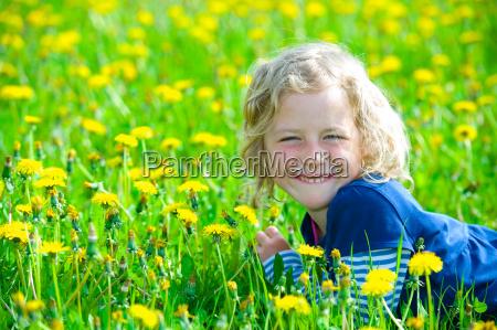 girl in a spring field