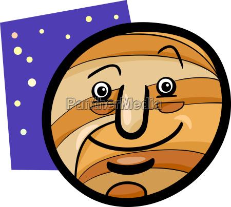 funny jupiter planet cartoon illustration