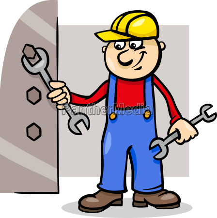 worker with wrench cartoon illustration