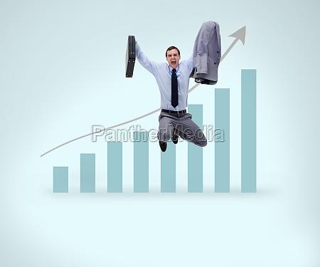 erfolgreiche unternehmer springen vor grafische darstellung