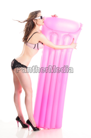 girl with pink airbed