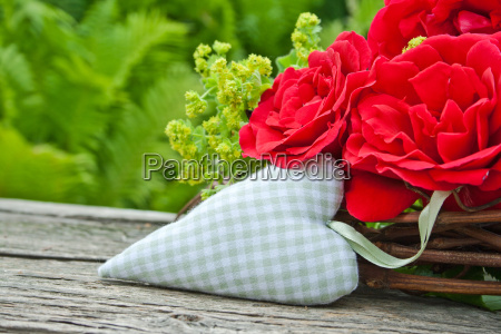 roses rose heart checked red green