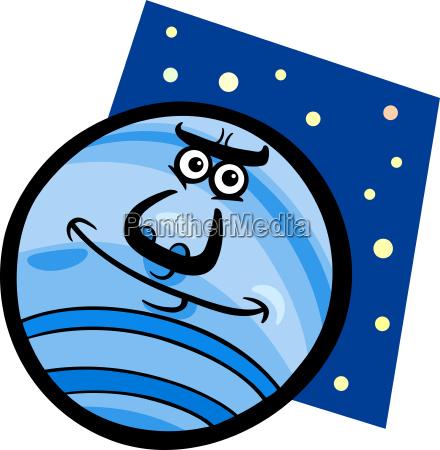 funny neptune planet cartoon illustration