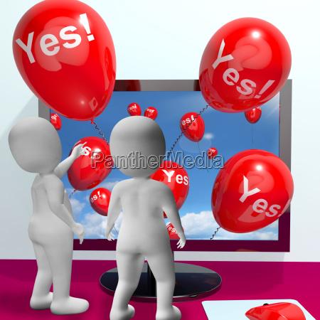 ja ballons aus computer zeige zustimmung