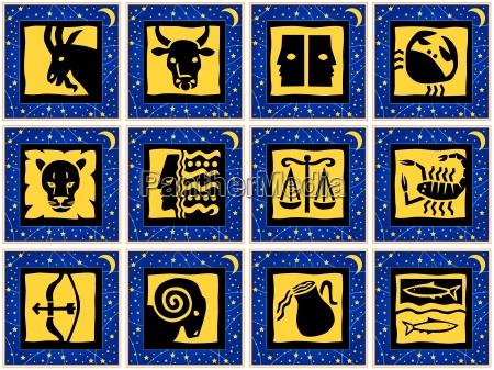 quadrate mit tierkreiszeichen freigestellte vektorgrafiken