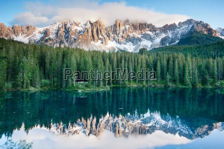 karersee lake in the dolomites in