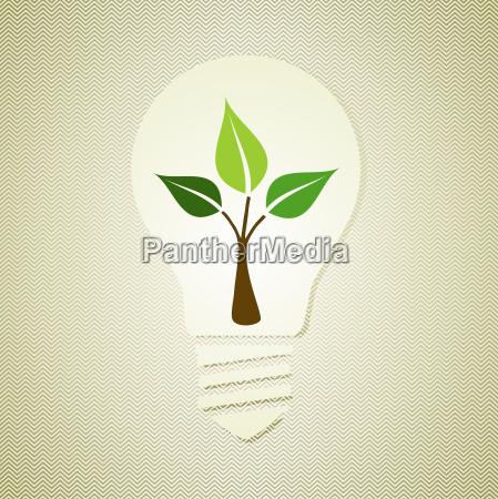 grüne, glühlampe, mit, blättern - 9591534
