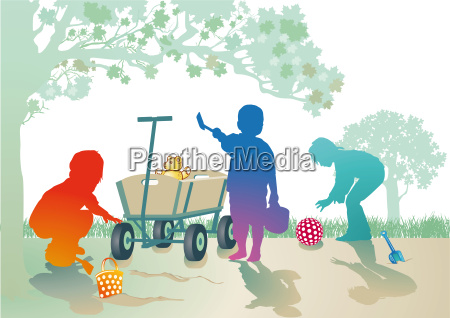 toddlers play in the sandbox