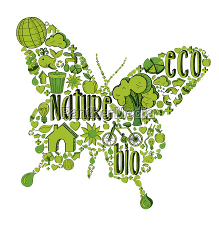 green butterfly with environmental icons