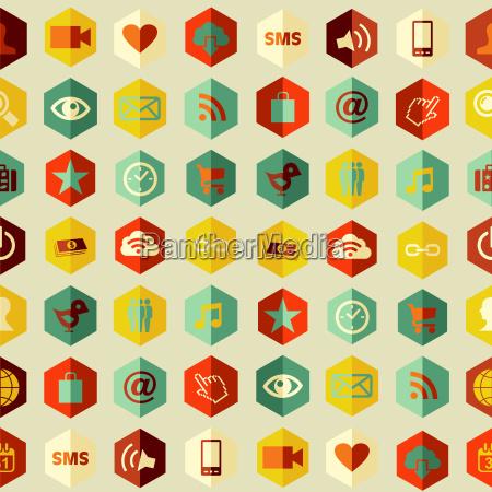 social app icons set pattern