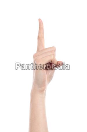 seitenansicht einer frauenhand die nummer eins