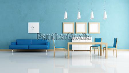blau und weiss esszimmer