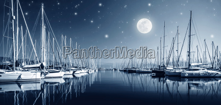 yacht harbor at night