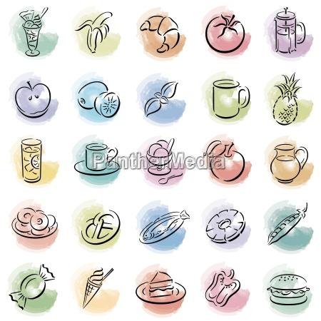 kleckse mit food symbolen freigestellte