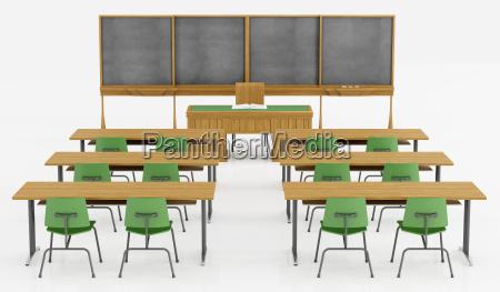 klassenzimmer ohne schueler auf weiss