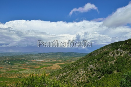 rural landscape with mountain view in