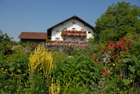 farmhouse with flowers