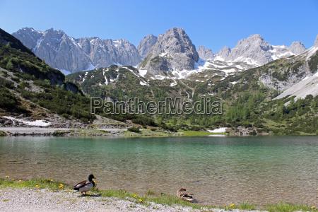 alps austrians mountain lake tyrol water