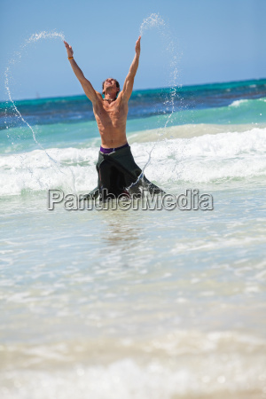adult young man in the water