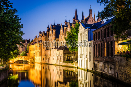 water canal and medieval houses at