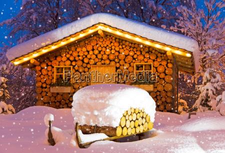 ski hut winter christmas
