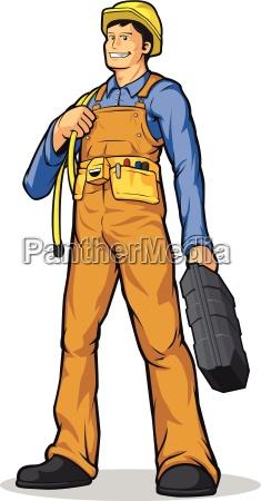 industrie bauarbeiter mit seil werkzeugkasten
