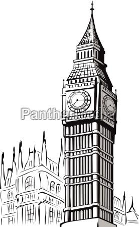skizze von big ben london