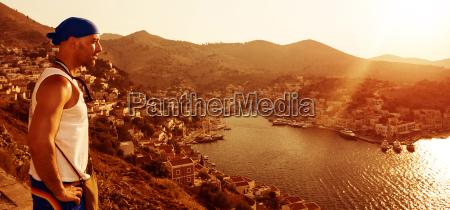 traveler in europe coastal city