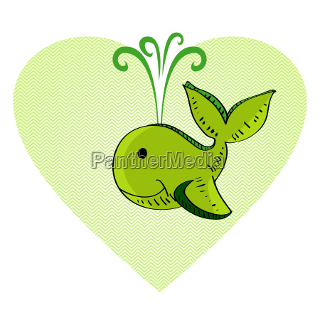 sketch style green whale love concept
