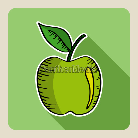 sketch style green apple