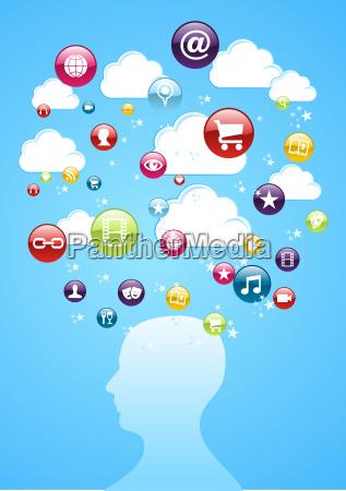 human head cloud storage concept