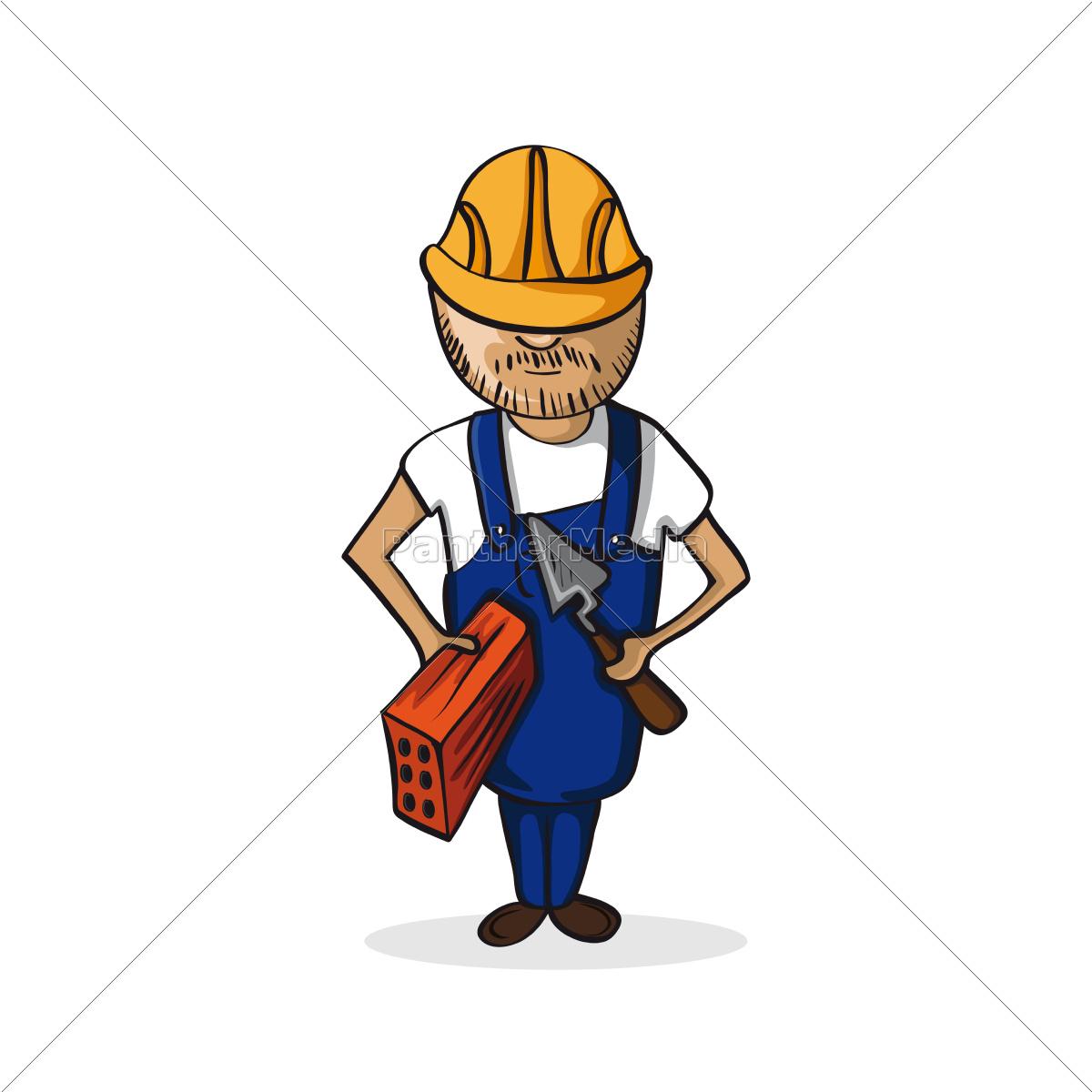 Beruf Bauarbeiter Comic Figur Lizenzfreies Foto 9776592