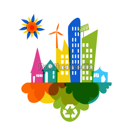 go green colorful city recycle icon